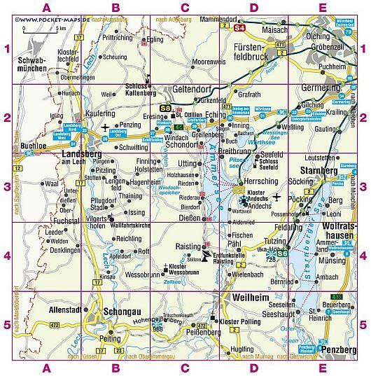 Landkarte Ammersee-Region Landkreis Starnberg, Weilheim-Schongau, Landsberg-Lech, Fürstenfeldbruck